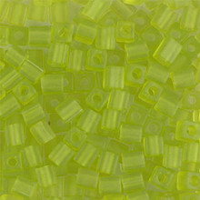 Japanese Miyuki 4x4 Cube Seed Bead. SKU 189004.SB4-0143F, Matte Transparent Lime, (1 24-28gr tube, apprx 336 beads)