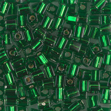 Japanese Miyuki 4x4 Cube Seed Bead. SKU 189004.SB4-0016, Green S/L, (1 24-28gr tube, apprx 336 beads)