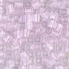 Japanese Miyuki 4x4 Cube Seed Bead. SKU 189004.SB4-0207, Pink Lined Crystal, (1 24-28gr tube, apprx 336 beads)