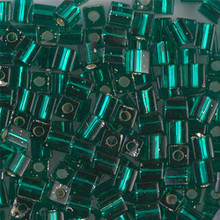 Japanese Miyuki 4x4 Cube Seed Bead. SKU 189004.SB4-0017, emerald silver lined, (1 24-28gr tube, apprx 336 beads)