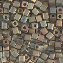 Japanese Miyuki 4x4 Cube Seed Bead. SKU 189004.SB4-2035, Opaque Khaki AB, (1 24-28gr tube, apprx 336 beads)