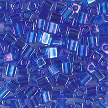 Japanese Miyuki 4x4 Cube Seed Bead. SKU 189004.SB4-0290, Transparent Sapphire AB, (1 24-28gr tube, apprx 336 beads)