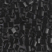 Japanese Miyuki 4x4 Cube Seed Bead. SKU 189004.SB4-0401, Opaque Black, (1 24-28gr tube, apprx 336 beads)
