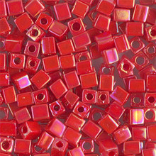 Japanese Miyuki 4x4 Cube Seed Bead. SKU 189004.SB4-0407R, opaque vermillion red AB, (1 24-28gr tube, apprx 336 beads)
