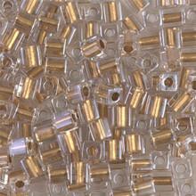 Japanese Miyuki 4x4 Cube Seed Bead. SKU 189004.SB4-0234, Metallic Gold Lined Crystal, (1 24-28gr tube, apprx 336 beads)