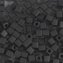 Japanese Miyuki 4x4 Cube Seed Bead. SKU 189004.SB4-0401F, Matte Black, (1 24-28gr tube, apprx 336 beads)