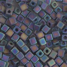 Japanese Miyuki 4x4 Cube Seed Bead. SKU 189004.SB4-0401FR, Matte Black AB, (1 24-28gr tube, apprx 336 beads)