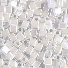 Japanese Miyuki 4x4 Cube Seed Bead. SKU 189004.SB4-0420, White Opal, (1 24-28gr tube, apprx 336 beads)