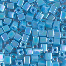 Japanese Miyuki 4x4 Cube Seed Bead. SKU 189004.SB4-0413R, opaque turquoise blue AB, (1 24-28gr tube, apprx 336 beads)