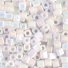Japanese Miyuki 4x4 Cube Seed Bead. SKU 189004.SB4-0402R, white AB, (1 24-28gr tube, apprx 336 beads)