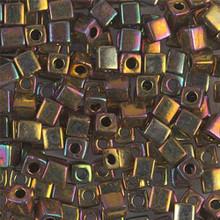 Japanese Miyuki 4x4 Cube Seed Bead. SKU 189004.SB4-0462, Metallic Gold Iris, (1 24-28gr tube, apprx 336 beads)