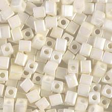 Japanese Miyuki 4x4 Cube Seed Bead. SKU 189004.SB4-0421, Opaque Beige Luster, (1 24-28gr tube, apprx 336 beads)