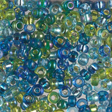 Japanese Miyuki Seed Beads, size 6/0, MIX 07, electric blue lagoon mix, (1 tube, apprx 24-28 grams, apprx 315 beads per tube)