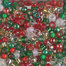 Japanese Miyuki Seed Beads, size 6/0, MIX 09, rockin' Christmas mix, (1 tube, apprx 24-28 grams, apprx 315 beads per tube)