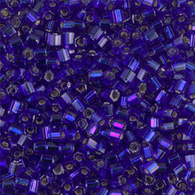 Japanese Miyuki Seed Beads, size 8/0, SKU 189008.MY8-0020cut, dark sapphire silver lined cut, (1 26-28 gram tube, apprx 1120 beads)