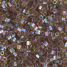 Japanese Miyuki Seed Beads, size 8/0, SKU 189008.MY8-0342cut, amethyst lined light topaz ab cut, (1 26-28 gram tube, apprx 1120 beads)