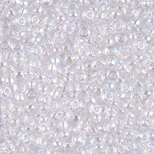 Japanese Miyuki Seed Beads, size 8/0, SKU 189008.MY8-0265, pale pink lined crystal ab, (1 26-28 gram tube, apprx 1120 beads)
