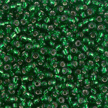 Japanese Miyuki Seed Beads, size 8/0, SKU 189008.MY8-0016, green silver lined, (1 26-28 gram tube, apprx 1120 beads)