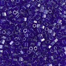 Japanese Miyuki Seed Beads, size 8/0, SKU 189008.MY8-0176cut, transparent cobalt luster cut, (1 26-28 gram tube, apprx 1120 beads)