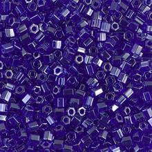 Japanese Miyuki Seed Beads, size 8/0, SKU 189008.MY8-0176cut, transparent cobalt luster cut, (1 26-28 gram tube, apprx 1120 beads)