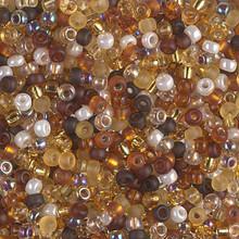 Japanese Miyuki Seed Beads, size 8/0, SKU 189008.MY8-MIX05, golden grains mix, (1 26-28 gram tube, apprx 1120 beads)