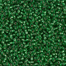 Japanese Miyuki Seed Beads, size 11/0, SKU 111030.MY11-0016, silver lined green, (1 28-30 gram tube, apprx 3080 beads)
