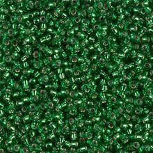 Japanese Miyuki Seed Beads, size 11/0, SKU 111030.MY11-0016, silver lined green, (1 28-30 gram tube, apprx 3080 beads)