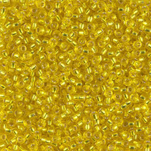Japanese Miyuki Seed Beads, size 11/0, SKU 111030.MY11-0006, silver lined yellow, (1 28-30 gram tube, apprx 3080 beads)
