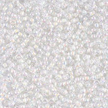 Japanese Miyuki Seed Beads, size 11/0, SKU 111030.MY11-0284, white lined crystal ab, (1 28-30 gram tube, apprx 3080 beads)