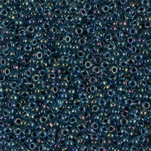 Japanese Miyuki Seed Beads, size 11/0, SKU 111030.MY11-0347, navy lined aqua ab, (1 28-30 gram tube, apprx 3080 beads)