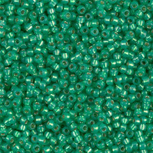 Japanese Miyuki Seed Beads, size 11/0, SKU 111030.MY11-0646, green alabaster silver-lined (dyed), (1 28-30 gram tube, apprx 3080 beads)