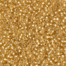 Japanese Miyuki Seed Beads, size 11/0, SKU 111030.MY11-1902, semi-matte silver lined gold, (1 28-30 gram tube, apprx 3080 beads)