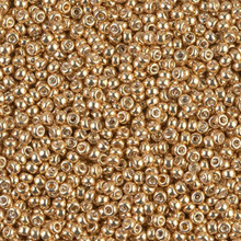 Japanese Miyuki Seed Beads, size 11/0, SKU 111030.MY11-1052, galvanized yellow gold, (1 28-30 gram tube, apprx 3080 beads)