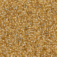 Japanese Miyuki Seed Beads, size 15/0, SKU 189015.MY15-0003, silver lined gold, (1 12-13gram tube - apprx 3500 beads)