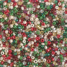 Japanese Miyuki Seed Beads, size 11/0, SKU 111030.MY11-MIX22, old fashioned Christmas mix, (1 28-30 gram tube, apprx 3080 beads)