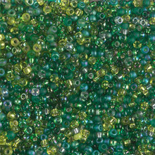 Japanese Miyuki Seed Beads, size 11/0, SKU 111030.MY11-MIX08, green supremes mix, (1 28-30 gram tube, apprx 3080 beads)