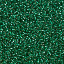 Japanese Miyuki Seed Beads, size 15/0, SKU 189015.MY15-0017, emerald silver lined, (1 12-13gram tube - apprx 3500 beads)