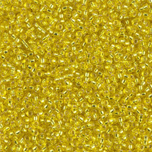Japanese Miyuki Seed Beads, size 15/0, SKU 189015.MY15-0006, yellow silver lined, (1 12-13gram tube - apprx 3500 beads)