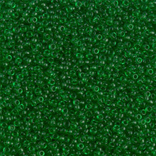 Japanese Miyuki Seed Beads, size 15/0, SKU 189015.MY15-0146, transparent green, (1 12-15gram tube - apprx 3500 beads)