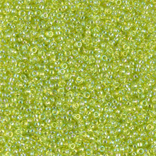 Japanese Miyuki Seed Beads, size 15/0, SKU 189015.MY15-0258, transparent chartreuse ab, (1 12-15gram tube - apprx 3500 beads)