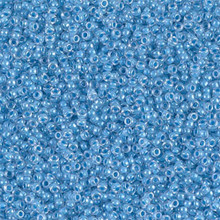 Japanese Miyuki Seed Beads, size 15/0, SKU 189015.MY15-0221, sky blue lined crystal, (1 12-13gram tube - apprx 3500 beads)