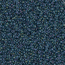 Japanese Miyuki Seed Beads, size 15/0, SKU 189015.MY15-0347, dark blue lined aqua ab, (1 12-15gram tube - apprx 3500 beads)