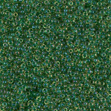 Japanese Miyuki Seed Beads, size 15/0, SKU 189015.MY15-0331, emerald lined light topaz ab, (1 12-13gram tube - apprx 3500 beads)