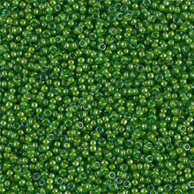 Japanese Miyuki Seed Beads, size 15/0, SKU 189015.MY15-2240, lined green/lime, (1 12-13gram tube - apprx 3500 beads)