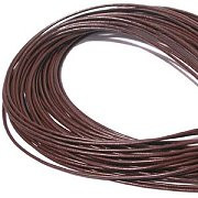 Leather, European (Greek), Round Cord, 1.5mm, Brown, 50-meter skein, (1 skein)
