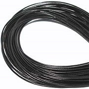 Leather, European (Greek), Round Cord, 1.5mm, Black, 50-meter skein, (1 skein)