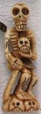 BONE: Oriental Bone Carved Pendant, Skeleton & Skulls, 74mm, (1 piece)