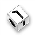 5.5mm (4mm hole) Sterling Silver Hebrew Letter Cube, FINAL NUN, (1 bead)