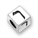 5.5mm (4mm hole) Sterling Silver Hebrew Letter Cube, RESH, (1 bead)