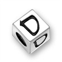 5.5mm (4mm hole) Sterling Silver Hebrew Letter Cube, SAMECH, (1 bead)